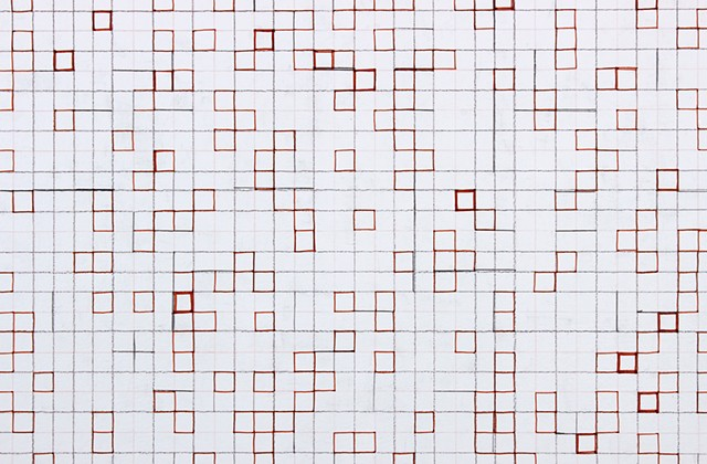 grid drawing on panel based on the number e by Yvette Kaiser Smith