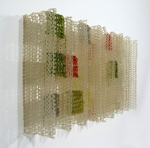 Geometric architectural crocheted fiberglass and polyester resin grid wall sculpture by Yvette Kaiser Smith