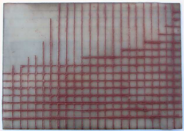 geometric encaustic on cardboard by Yvette Kaiser Smith