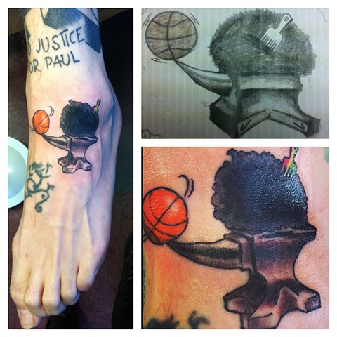tribute to The Black Anvils on Colin's foot (his sketch shown upper right corner)