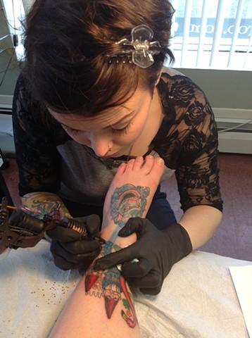 Me tattooing Theresa