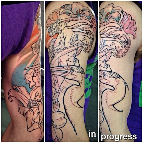 In progress really fun piece on Jim. Involves art by Alphonse Mucha!