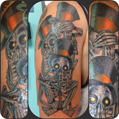 See no evil, Hear no evil, Speak no evil dapper skeletons on Mike