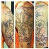 Mike's in-progress hummingbird/lily half-sleeve