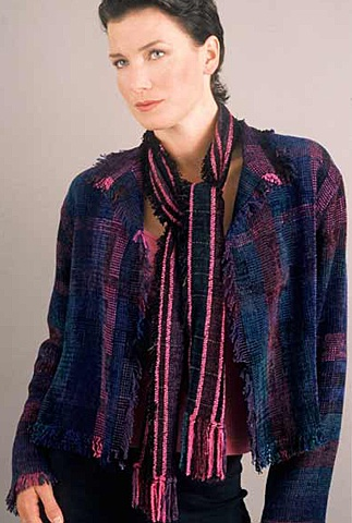 """""""Classic Jewel"""" Fringed Crop Jacket and Scarf"""