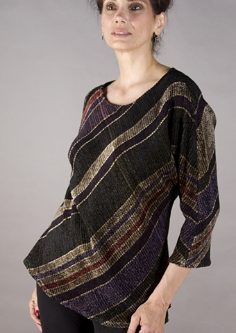 Handwoven pullover of rayon chenille and cotton yarns