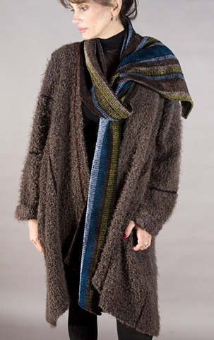 """Handwoven coat of """"cloud"""" microfiber and rayon chenille"""