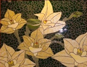 Stained glass mosaic flowers orchids yellow commission beautiful nature natural St. John's Springfield Missouri