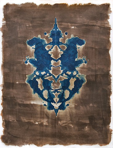 vandyke, cyanotype, camera-less photography, alternative photography, abstract, bilateral symmetry, inkblot, Rorschach, Holtzman, apophenia, pareidolia