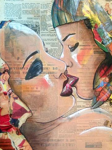 Portrait of two women kissing