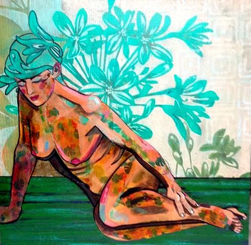 Semi Reclining Nude with Algae hair