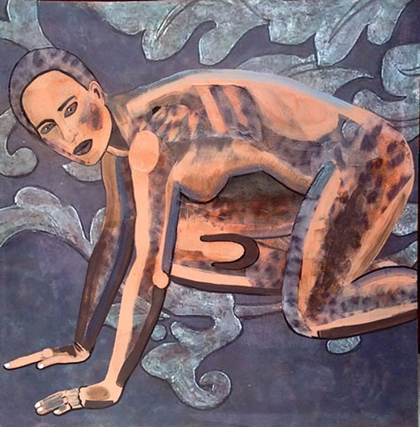 """Portrait of a nude woman in the """"starter"""" position for a race."""