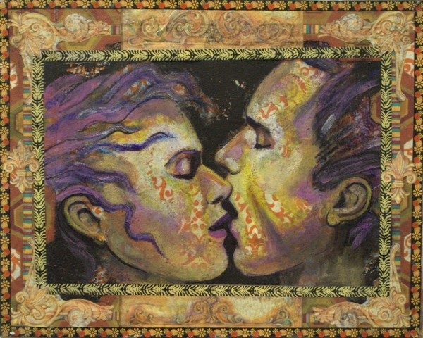 Painting of two people kissing romantically.