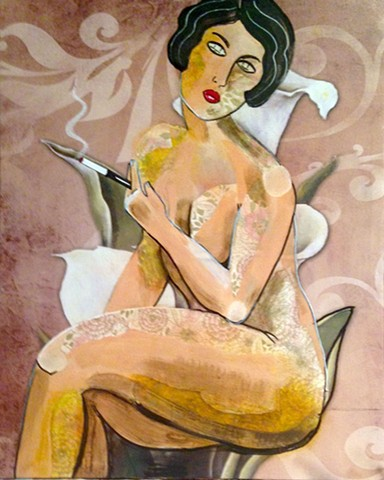 "Portrait of a nude woman with floral in 1920's ""vamp"" style."