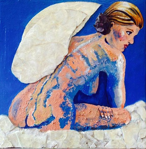 Back view of a seated Angel.