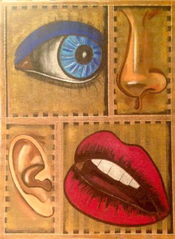 Depiction of four senses
