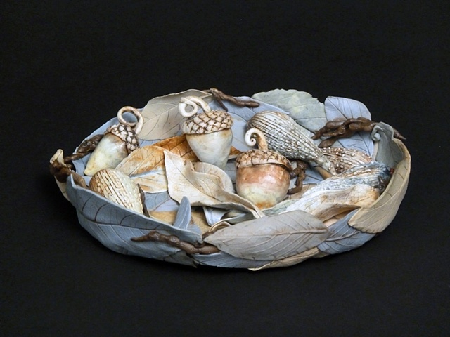 Blue Leaf bowl with acorns and pods
