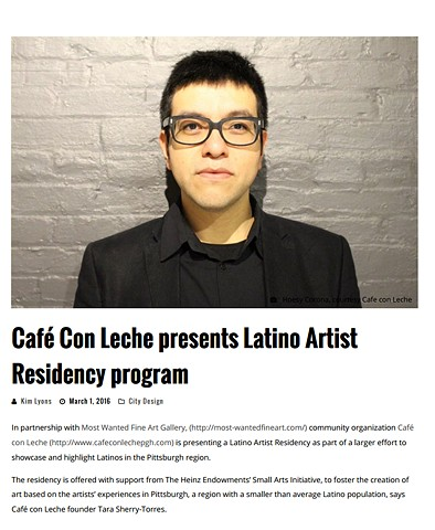 Cafe con Leche Latino Artist Residency May 2016