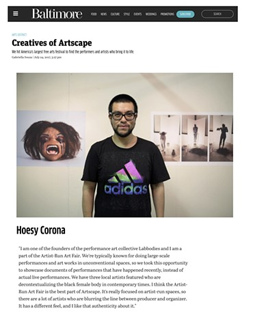 Hoesy Corona highlighted in Baltimore Magazine