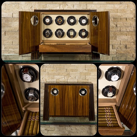 """Josephus"" Watch Winder / Humidor Combo with Port Holes"