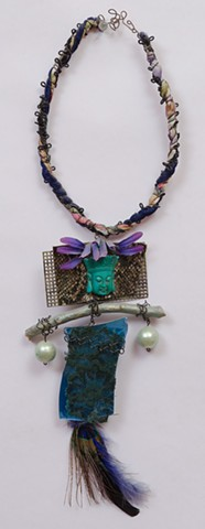 """MIXED MEDIA """"Turquoise Buddha & Peacock Feather"""""""
