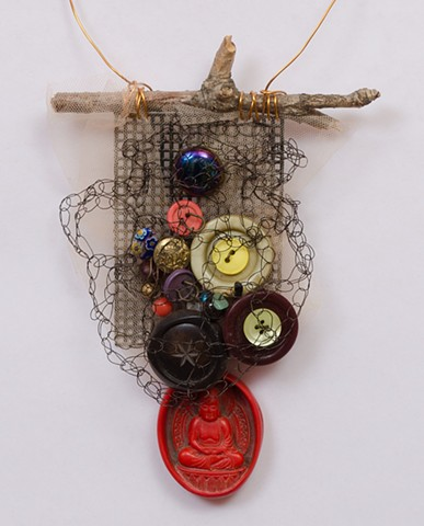 """INSPIRED BY JOSEPH CORNELL """"Buttons & Beads With Red Buddha Dangle"""" Detail"""