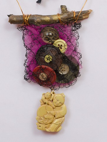 """INSPIRED BY JOSEPH CORNELL """"Brooklyn Twig With Vintage Buttons & Buddha Dangle""""  Detail"""