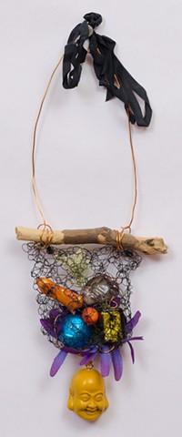 "INSPIRED BY JOSEPH CORNELL ""Mixed Semi-Precious Stones With Buddha Dangle"""