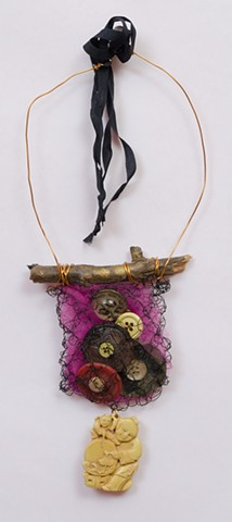 """INSPIRED BY JOSEPH CORNELL """"Brooklyn Twig With Vintage Buttons & Buddha Dangle"""""""