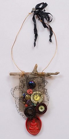 """INSPIRED BY JOSEPH CORNELL """"Buttons & Beads With Red Buddha Dangle"""""""