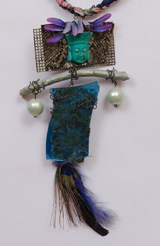 """MIXED MEDIA """"Turquoise Buddha & Peacock Feather"""" Detail"""