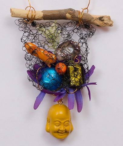 "INSPIRED BY JOSEPH CORNELL ""Mixed Semi-Precious Stones With Buddha Dangle"" Detail"