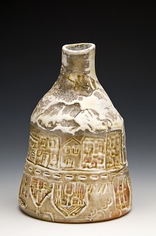 Woodfired prorcelian bottle  1st  time cityscape and house images show up in my work