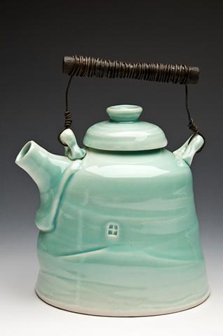 Cone 6 celadon glaze teapot