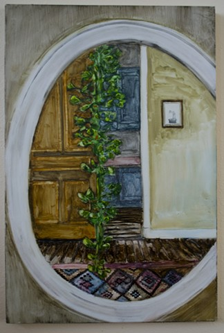 mirror/ philodendron