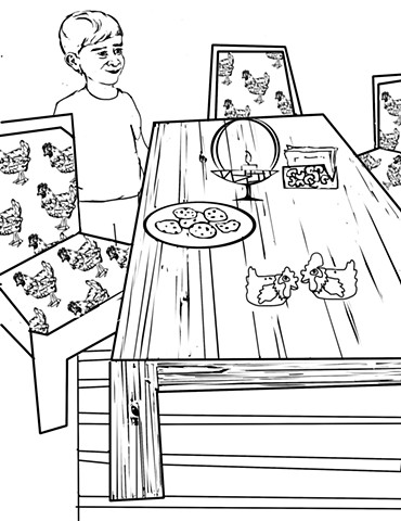 """UUA curriculum for ages 3-7 coloring page for the story """"The Memory Table"""""""