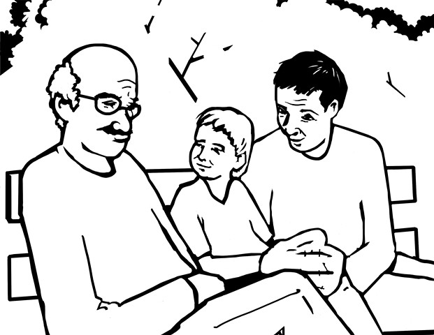 "UUA curriculum for ages 3-7 coloring page for the story ""Love Without Boundaries"" that loving families come in all shapes, colors, and sizes"