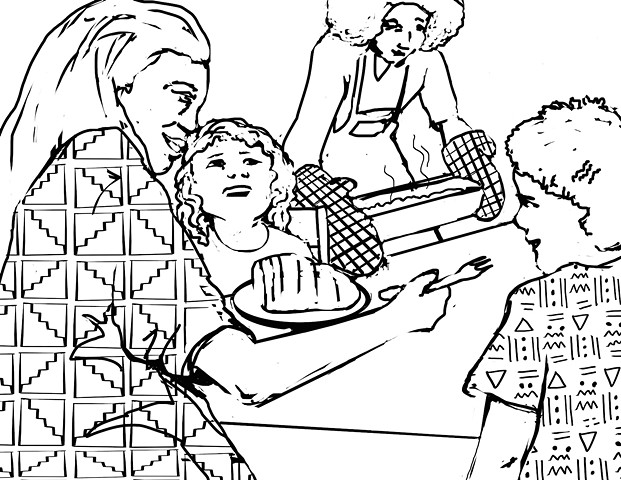"UUA curriculum for ages 3-7 coloring page for the story ""The Best Meal"" (draft)"