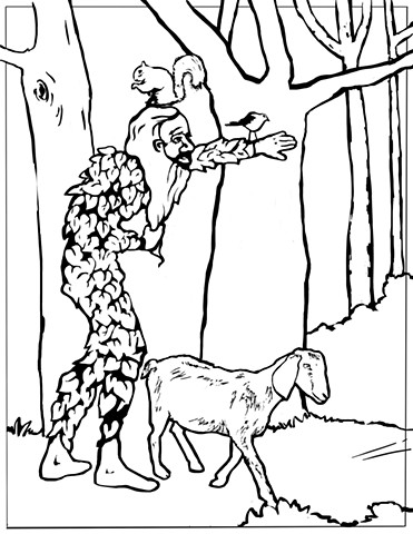 """UUA curriculum for ages 3-7 coloring page for the story """"The Green Man"""""""