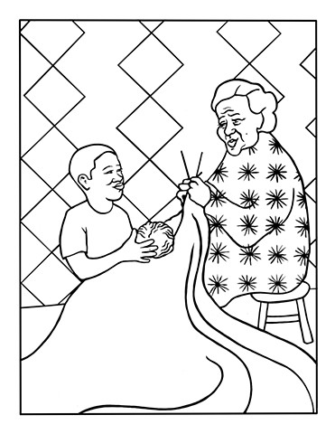 "UUA curriculum for ages 3-7 coloring page for the story ""The Real Gift"""