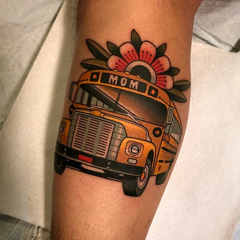 school bus tattoo by dave wah