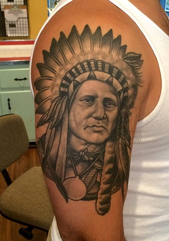 native american warrior tattoo by dave wah at stay humble tattoo company in baltimore maryland