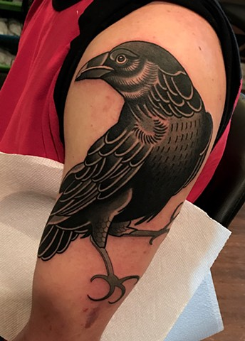 crow tattoo by dave wah at stay humble tattoo company in baltimore maryland the best tattoo shop and artist in baltimore maryland