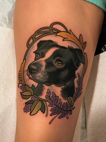 dog portrait tattoo by tattoo artist dave wah at stay humble tattoo company the best tattoo shop in baltimore maryland