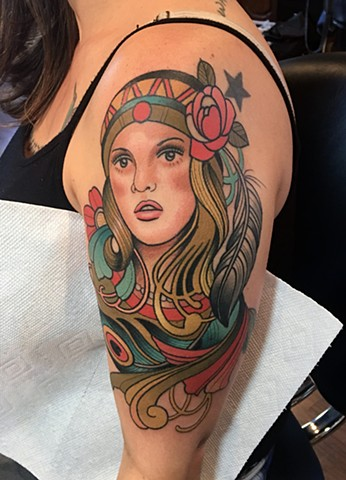 Girl and flower tattoo by Dave Wah