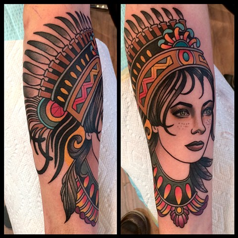 woman with headdress tattoo by dave wah at stay humble tattoo company in baltimore maryland