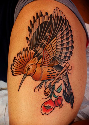 hoopoe bird tattoo by dave wah at stay humble tattoo company in baltimore maryland