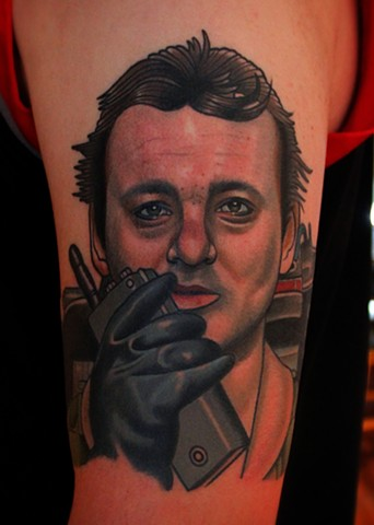 ghostbusters peter venkman tattoo by dave wah at stay humble tattoo company in baltimore maryland