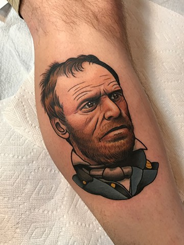 william t c sherman portrait tattoo by tattoo artist dave wah at stay humble tattoo company the best tattoo shop in baltimore maryland