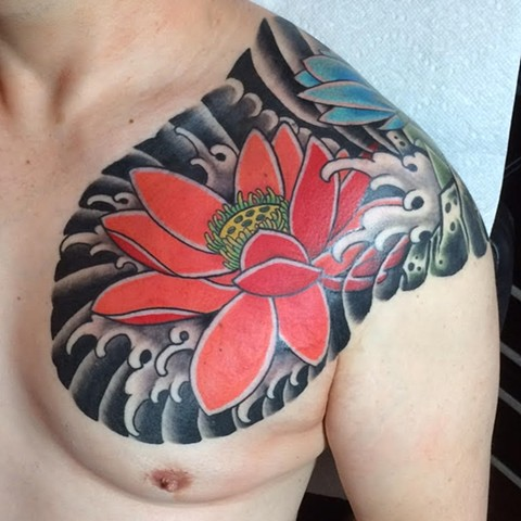 Japanese Lotus Chest panel tattoo by Fran Massino